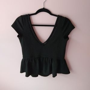 free people black peplum lace edged open back top